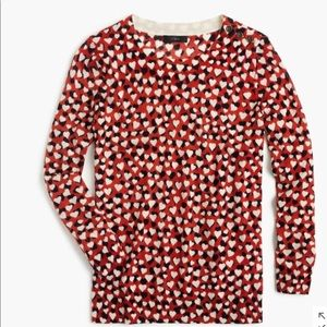 J Crew Tippi Sweater in Printed Hearts